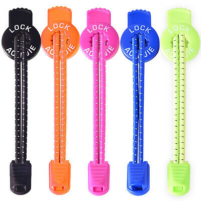 No Tie Shoelaces Elastic Lock Shoe Laces Running Jogging Athletic Sneaks Trainer