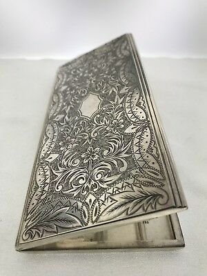 Japanese 950 Sterling Silver Long Cigarette case Hand Chased Etched Antique