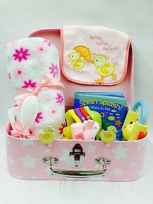 Baby Girl Bath Time Fun Selection Sugar N Spice Suitcase Hamper Large Cardboard