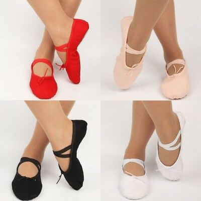 Soft Canvas Ballet Dance Training Shoes For Baby Toddler Kids Girl & Adult Women