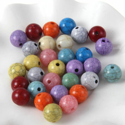 100x Acrylic Crack Loose Beads Ball Mixed Color 10mm DIY Jewelry Making Craft