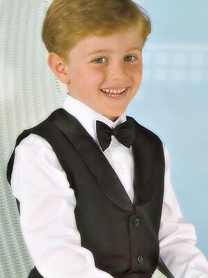 BOYS BLACK VEST WITH LAPEL, Size choices 000 to 16 YRS, NEW, AUSTRALIA