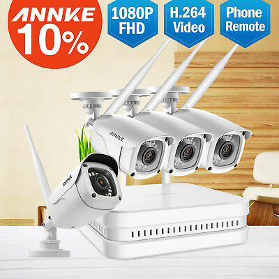 ANNKE Wireless 8CH 1080P NVR 4x 2MP WiFi IP Camera Outdoor Security System H.264