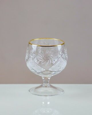 Victoria Crystal 6 Gold Rimmed Brandy Glasses 24% LEAD CRYSTAL 100%HANDMADE 30cl