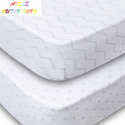 Playard Sheets, 2 Pack Fitted Soft Jersey Cotton Playpen Sheet, Bedding with...