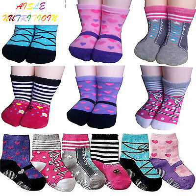 BSLINO Assorted 6 Pairs 12-24 Months Baby Girl Toddler Socks Non-Skid Anti...