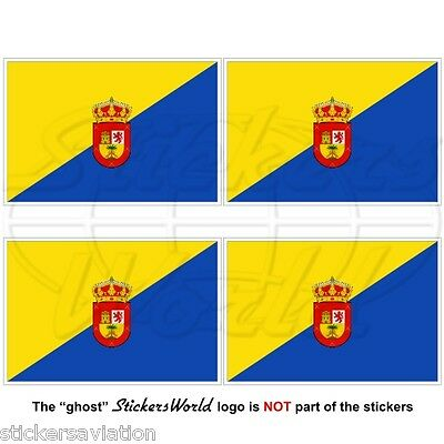 GRAN CANARIA Flag, CANARY ISLANDS Spain, Islas Canarias 50mm Stickers, Decals x4