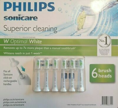 6 x Genuine Philips Sonicare Optimal White Replacement Electric toothbrush heads