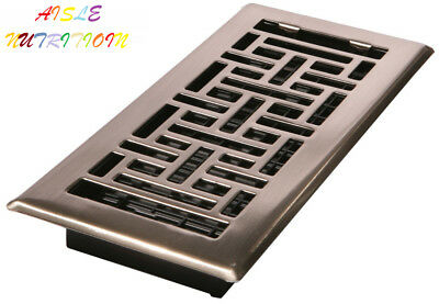 Decor Grates AJH410-NKL 4-Inch by 10-Inch Oriental Floor Register, Brushed...
