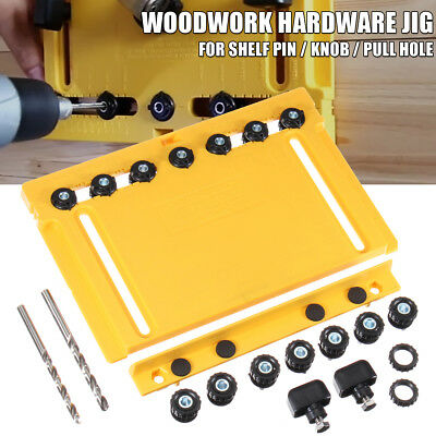 Cabinet Hardware Jig Shelf Pin Drill Guide Pull Knob Hole Position Woodworking