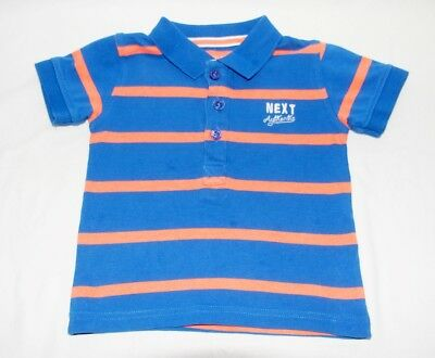Baby Boys Next Blue Orange Striped Polo T-Shirt (6-9 months)