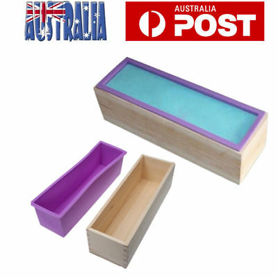 Wood Loaf Soap Mould with Silicone Mold Cake Making Wooden Box 1.2kg soap making