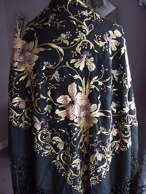 antique hand Embroidered woven fringed piano shawl