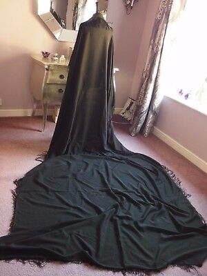 Vintage antique Victorian wool Mourning shawl  with fringe 1860s