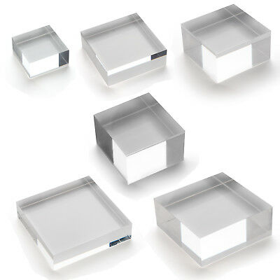 Solid Clear Acrylic Shop Window Till Retail Collectors Shelf Block Stand Display
