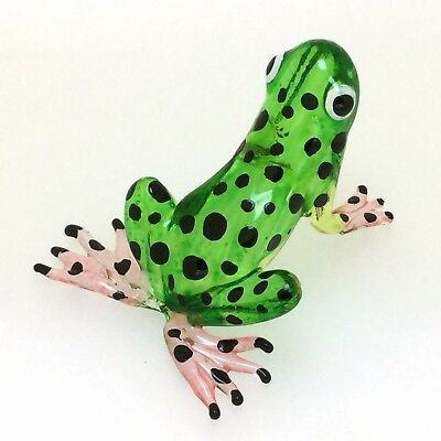Lampwork COLLECTIBLE MINIATURE HAND BLOWN GLASS Green Frog FIGURINE FREE SHIP