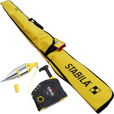 Stabila 30035 7 ft - 12 ft Plate Level Carrying Case with Tajima Plumb Bob New