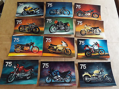 BMW Motorcycle Vintage 75th Anniversary Postcards New Unposted Set 12