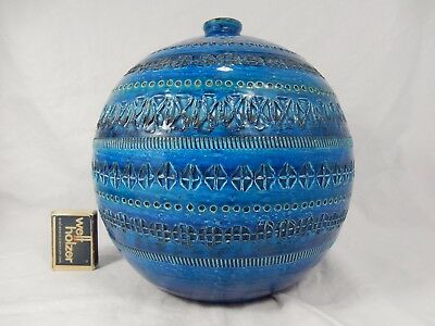 Beautiful XXL Aldo Londi Bitossi Rimini Blue pottery ball Kugel Vase Italy 21 cm