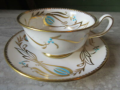 Old Vintage Royal Chelsea Blue & Gold Bone China Cup & Saucer