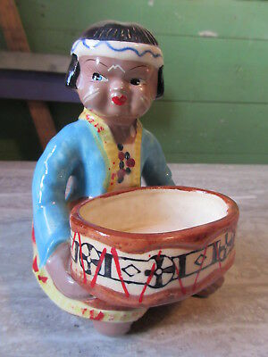 Old Vintage Pottery First Nations Indian Boy w/Basket Figurine