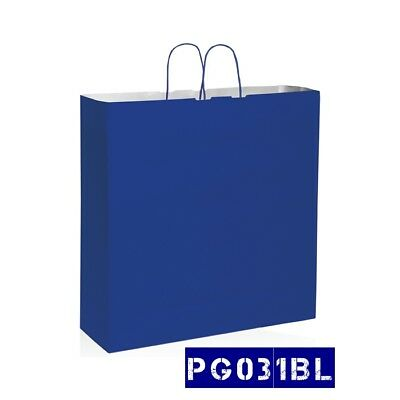 150 BUSTE IN CARTA COLORE BLU 54X14x50 shoppers buste negozi wedding bags PG031