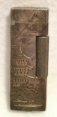 Vintage c.1930s Intricately Etched 950 Silver JAPANESE EXPORT Cigarette Lighter