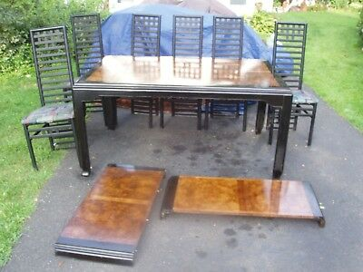 Vintage 1970s 1980s Asian Inspired Wood Dining Room Table & 6 Chairs & 2 Leaves
