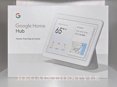 Google Home Hub with Google Assistant (GA00516-US) Chalk Gray NEW SEALED