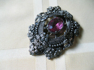"Vintage & Lovely Large Dress Fur Clip Pink Amethyst Colored Stone 2 1/2"" By 2"""