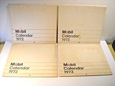 Two Vintage Mobil Gas Station Wall Calanders * 2-1972 And 2-1973 * Famous Places