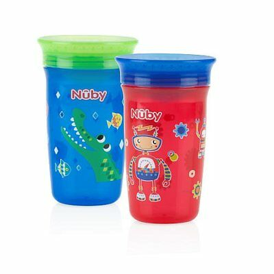 Nuby 360 Degree Maxi No Spill Cup Baby Toddler Bottle - Pack of 2 (Assorted)