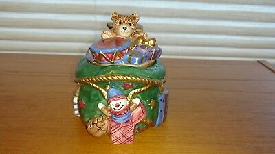 Fitz & Floyd 1994  Christmas Bear Candle Holder Collectible Hand Painted