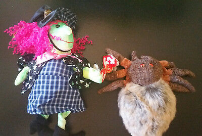 TY Beanie Baby SCARY Witch / HAIRY Spider NWT Lot of 2 Plush Halloween Retired