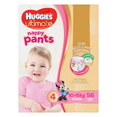 NEW Huggies Ultimate Toddler Nappy Pants for Girls - 56 Pack