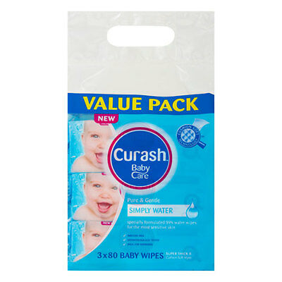 NEW Curash Babycare Simply Water Baby Wipes - 3 x 80 Pack