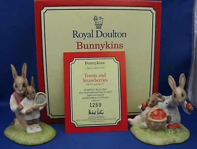 """Royal Doulton Bunnykins - """"Tennis & Strawberries"""" - DB271 - 2 for the price of 1"""
