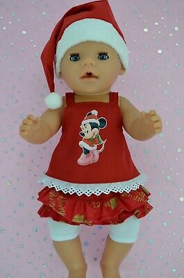 "Play n Wear Doll Clothes To Fit 17"" Baby Born SKIRT/BUILT-IN TIGHTS~TOP~XMAS HAT"