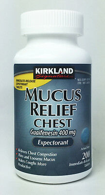 Kirkland Mucus Relief Chest Guaifenesin 400mg Expectorant 200 Tablets.