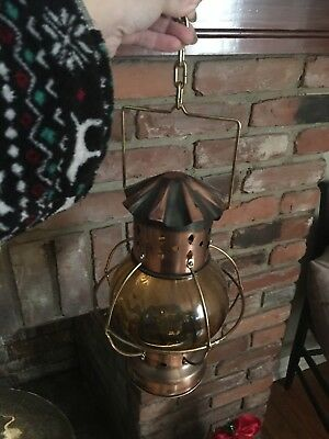 Antique Solid Brass Hanging Lantern Chandelier Pendant Lamp Amber colored glass