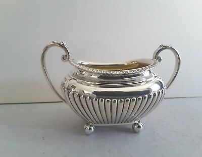 Quality Antique Solid Silver Half Fluted Sugar Bowl.   Sheffield 1915.