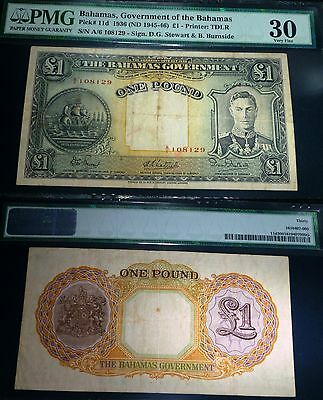 BAHAMAS Pick# 11d 1936ND 1 POUND KING GEORGE PMG 30,SCARCE ONLY 2 graded by pmg