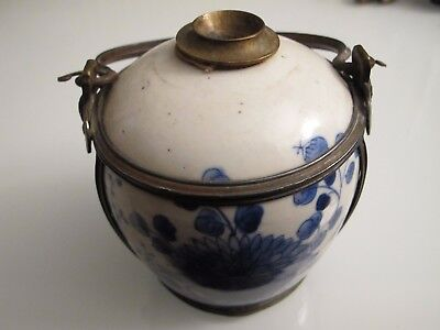 Antique chinese Ceramic Opium Pipe vase blue and white porcelain longevity mark
