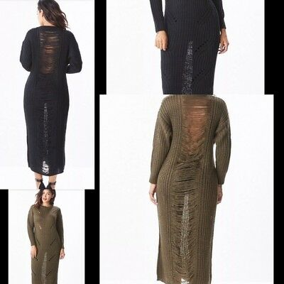 Long Sleeve Bohemian Maxi Sweater Distressed Dress. Color Black and Olive