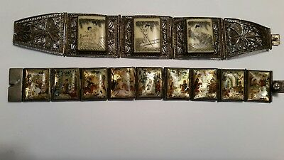 lot of 2 antique chinese bracelets silver hand painted & carved scrimshaw pearl