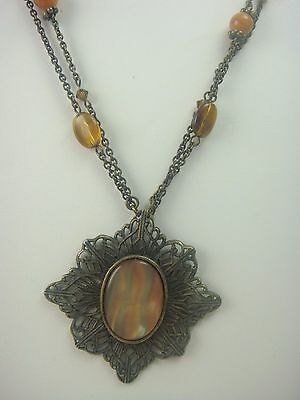 """Vtg 1980's Bronze Tone Faux Mother Of Pearl & Amber Lucite 20""""  Necklace By Vj"""
