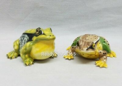 Green Toad Frog Figurine Miniature Figurines Ceramic Animal Hand Art Decor New