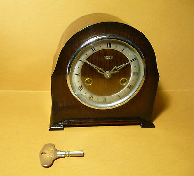 Restored Striking 1951 Smiths/Enfield mantle clock with original smiths key.