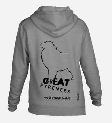 Great Pyrenean Mountain Dog Full Zipped Hoodie Dogeria Women's & Men's Sizes