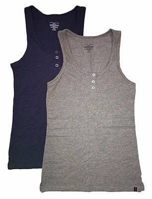 Tommy Hilfiger 2 Pack Henley Women Tank (Small, Medium, Large Navy/Grey)